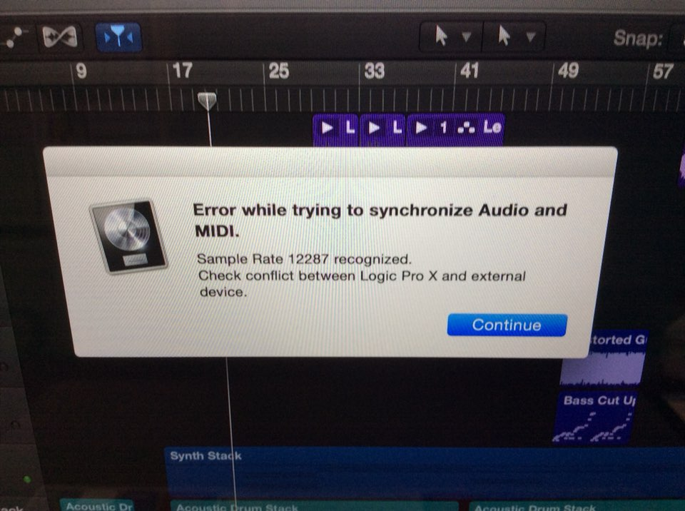 logic pro sample rate conflict